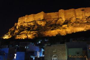 indien jodhpur mehrangarh fort beleuchtet