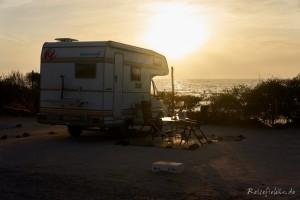 marokko sonnenuntergang camper strand sidi wassay